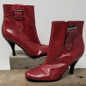 Enzo Angiolini Womens Red Leather Boots Size 8-1/2